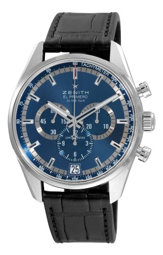 Zenith Men's 03.2041.400/51.c496 El Primero 36'000 VPH Blue Sunray Patterned Chronograph Dial Watch With Black Leather Strap