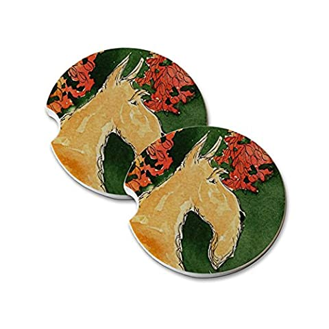 Natural Sandstone Car Drink Coasters (set of 2) - Wheaten Scottish Terrier with Autumn Leaves Scottie Dog Art by Denise - Scottie Dog Art