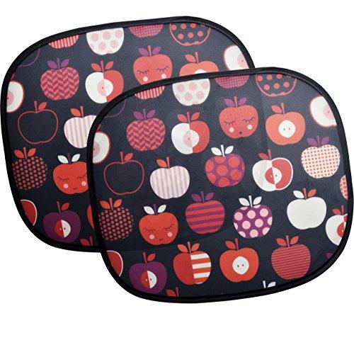 Sonnenschutz fürs Auto, 2 Stück Sonnenblenden im retro Apfel-Design, komplett mit Saugnäpfen und Tasche, UV-Schutz für Kinder und Babys, universelle Passform