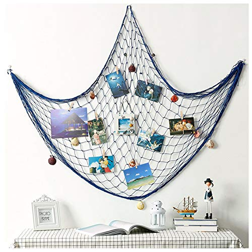 (YLMY 79x40 Inch Nautical Themed Mediterranean Fishing Net Photo Wall Decor, Photo Hanging Display Frames with 30 Clips, Picture Cards Artworks Organizer for Dorm, Home,Beach Themed Party Decorations)