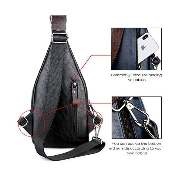 Alena Culian Sling Backpack Men Leather Chest Bag Crossbody Shoulder Bag For Men(black) 17