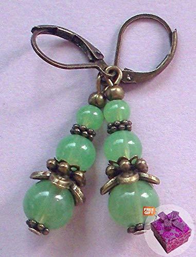 Triple Aventurine Jadeite Earring Bronze Lever Back Artisan Earrings For Women Set + Gift Box For Free