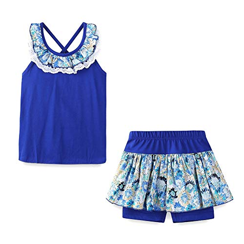 LittleSpring Little Girls Summer Clothes Floral Top and Shorts Set Navy Blue Size 7T