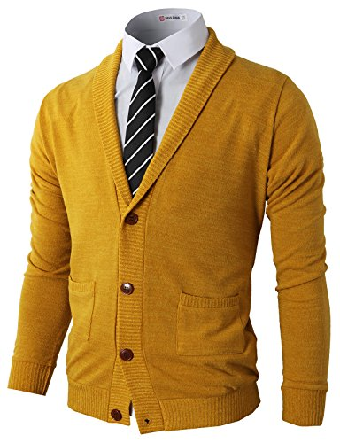 H2H Men's Mock Neck Full Zip Long Sleeve Sweater Mustard US XL/Asia XXL (CMOCAL07)