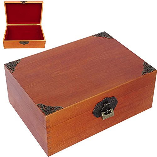 WINGOFFLY Large Wooden Treasure Box Trunk Box Stash Boxes for Jewelry Storage Cards Collection Gifts and Home Decoration, Blank by WINGOFFLY