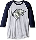 HBO'S Game of Thrones Men's House of Stark Raglan T-Shirt, Gray, 2Xl