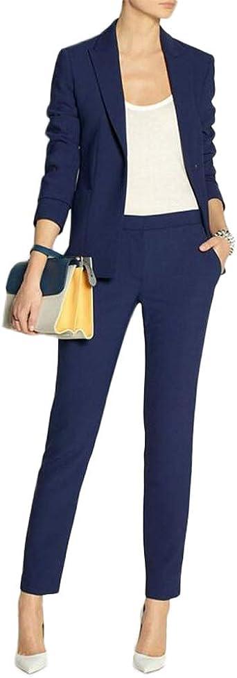 Conjunto De 2 Piezas Para Mujer Azul Marino Blazer Trajes De Esmoquin Traje Para Fiesta De Boda Clothing