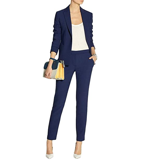 Amazon.com: Women Suits 2 Piece Set Navy Blue Blazer Suits ...
