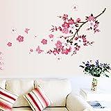 wall paint ideas Transer Peach Blossom Flower Butterfly Wall Stickers Vinyl Art Decals Decor Mural (Pink)