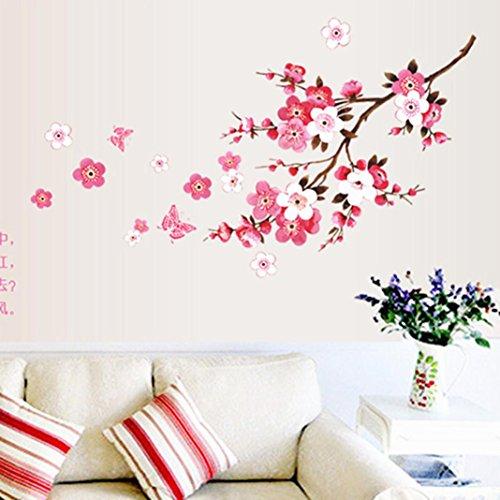 Transer Peach Blossom Flower Butterfly Wall Stickers Vinyl Art Decals Decor Mural (Pink)