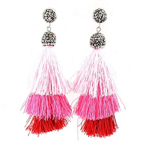 NEW Big Bold Beautiful High End Fashion Tassel Rhinestone Drop Dangle Druzy CZ Stud Earrings | 28 Designs (Hot Pink ()