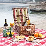 ZORMY Picnic Basket for 2 Person, Durable Wicker