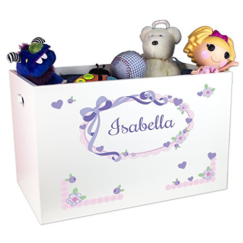 Girl's Personalized White Toy Box - lavender bow by MyBambino