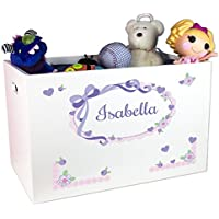 Girls Personalized White Toy Box - lavender bow