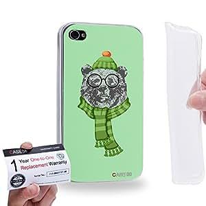 Case88 [Apple iPhone 4 / 4s] Gel TPU Carcasa/Funda & Tarjeta de garantía - Art Design Ursus arctos Personate Animals 1606