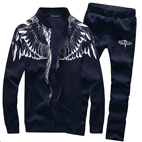 Asali Mens Tracksuit Feather Wings Fashion Warm Up Jog Suit with Clothes and Pants Navy XXL