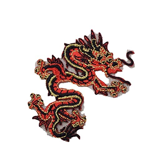Top Iron On Applique Embroidered Patch Chinese Red Black Facing Right Dragon Small (Embroidered Dragon Patches)