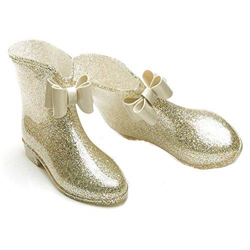 pluie Womens Bow imperméables chaussures de Meijunter de Korean pluie Bottes Bottes princesse antidérapantes or en caoutchouc 5gqwx8wPZ
