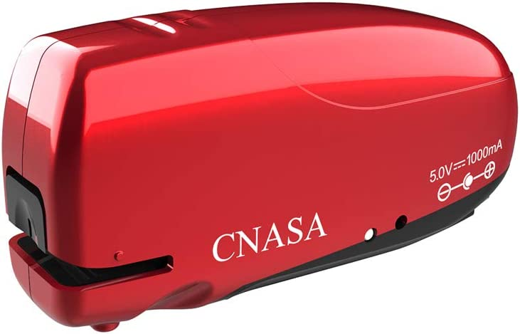 Build-in Staple Remover, Electric Automatic Stapler, CNASA Battery Rechargeable Stapler Jam-Free for Office School Home (Red)