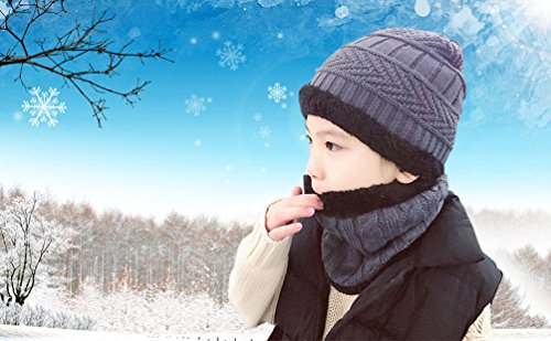 Winter Beanie Scarf for Boys Girls (5-14 Years) Warm Snow Knit Hats Windproof HINDAWI Circle Scarf Kids Slouchy Skull Cap Grey by HindaWi (Image #7)