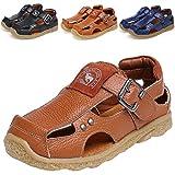 DADAWEN Boy's Girl's Athletic Summer Leather Outdoor Closed-Toe Strap Sandal(Toddler/Little Kid/Big Kid) Brown US Size 13 M Little Kid