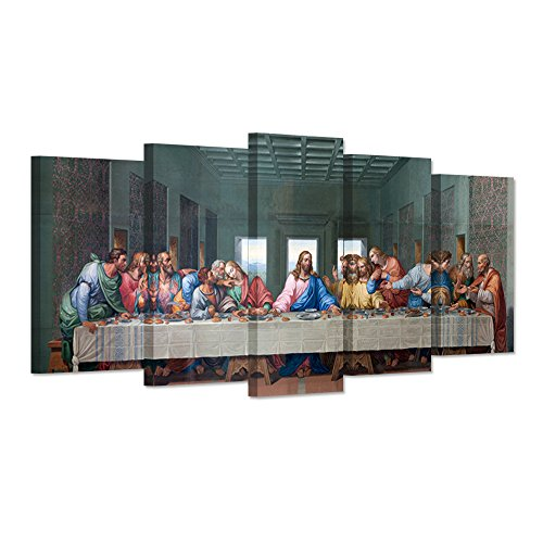 Last Disciples Supper 12 (Hello Artwork - Large 5 Pieces Canvas Wall Art The Last Dinner Supper Family Party World Famous Painting Picture Print On Canvas Stretched For Living Room Ready To Hang)