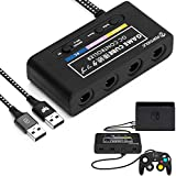 Gamecube Controller Adapter Compatible for Wii U,Super Smash Bros Ultimate Nintendo Switch with 4 Ports,Plug and Play,No Drivers Needed(Newest Version) Black
