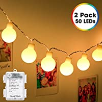 DecorNova Set of 2 16.4 Feet 50 LED Globe String Lights (Warm White)