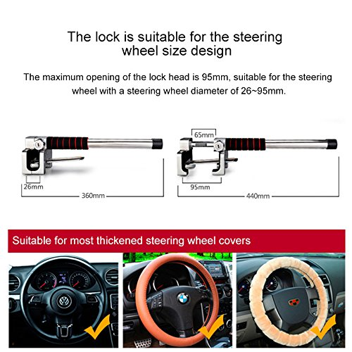 JXHD Car lock, car steering wheel lock Car truck universal Car adjustable anti-theft lock Heavy duty safety hammer Self-defense hand tool with emergency safety hammer by JXHD (Image #3)