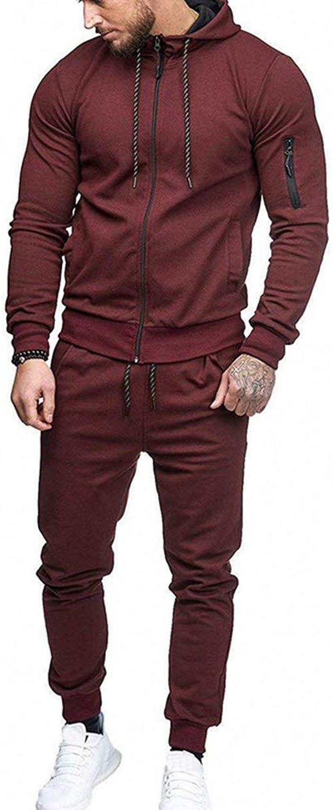 Long Pant Tracksuit Athletic Apparel Suit Set Mens Slim Fit Zip Cotton Jacket