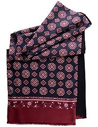 Men's Italian Silk Scarves - Soft Wool Lined - Extra Long