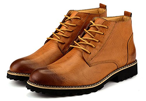 MHB Men's Wingtip Laces Spectator Brogue Leather Oxford Ankle Boots Classic British Style 7in - British Triathalon