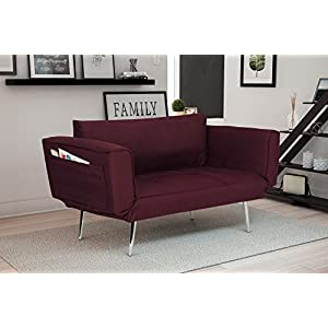 DHP Euro Sofa Futon Loveseat with Chrome Legs and Adjustable Armrests - Berry Purple