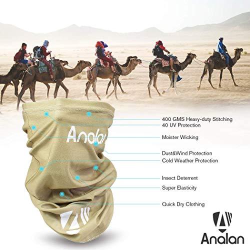 ANALAN Dust Mask Half Face Cover Mask Bandana Neck Gaiter Sun Protection Headwear for Men and Women Girls Boys Outside Sports (Desert Grey)