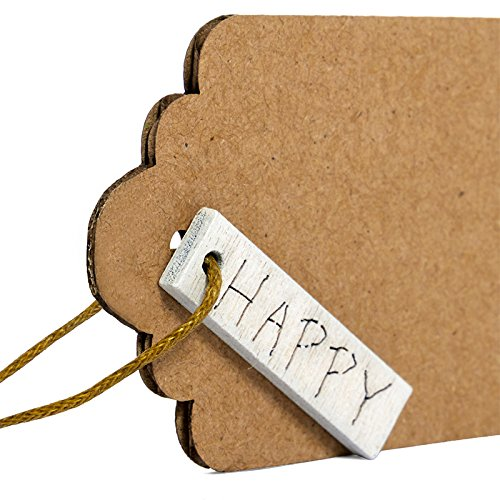 Natural Kraft Pre-Strung Gift Tags with White Wooden''Happy'' Charm Attached (24 Pack)