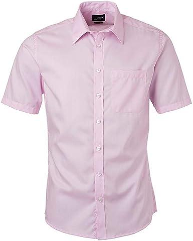 James and Nicholson - Camisa de Micro Sarga de Manga Corta para Hombre Caballero (L) (Rosa Claro): Amazon.es: Ropa y accesorios