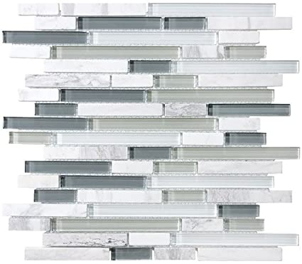10 Sq Ft - Bliss Iceland Marble and Glass Linear Mosaic Tiles for Kitchen  Backsplash or Bathroom Walls