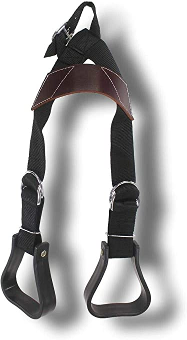 Showman Heavy Duty Adjustable Nylon Little Buddy Helper Stirrups Black