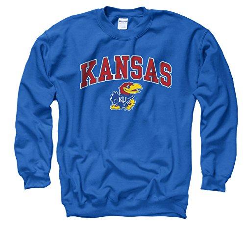 Campus Colors Kansas Jayhawks Adult Arch & Logo Gameday Crewneck Sweatshirt - Royal, Small - Kansas Hooded Sweatshirt
