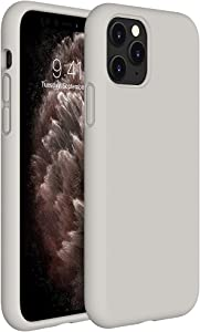 Miracase Liquid Silicone Case Compatible with iPhone 11 Pro 5.8 inch(2019), Gel Rubber Full Body Protection Shockproof Cover Case Drop Protection Case(Stone)