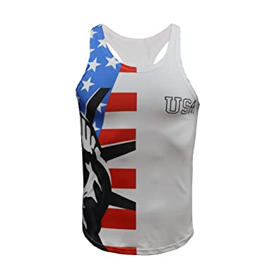 refulgence Stringers Vintage Distressed USA Flag Mens Tank Top Bodybuilding Sport Fitness Vest White