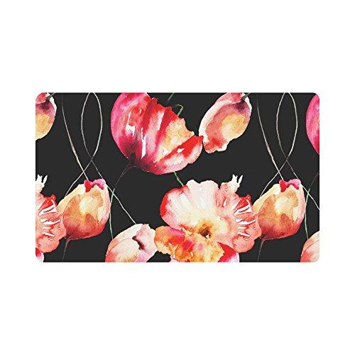 InterestPrint Watercolor Tulips and Poppy Flowers Doormat Non Slip Indoor/Outdoor Door Mat Floor Mat Home Decor, Entrance Rug Rubber Backing Large 30