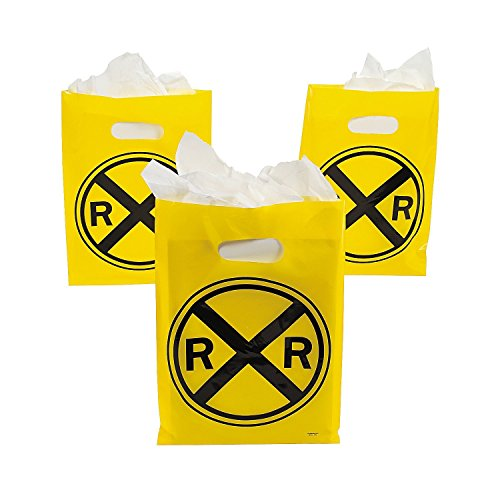 Fun Express Plastic Railroad Treat Bags, 12 -