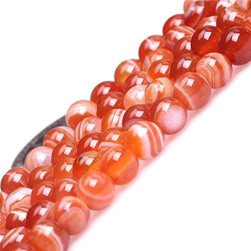 JOE FOREMAN 6mm Stripe Red Agate Semi Precious Gemstone Round Loose Beads for Jewelry Making DIY Handmade Craft Supplies 15