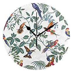 LORIVES Aviary Multi Pattern Wall Clock Silent Non Ticking Acrylic Decorative 10 Inch Round Clock for Home Office School