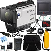 Sony FDR-X3000R 4K Action Camera with Live View Remote + 64GB Memory Card & Accessory Bundle
