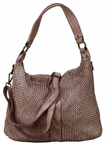 Bozana Bag Rebecca rosa Italy Designer Damen Handtasche Schultertasche Tasche Schafsleder Shopper Neu