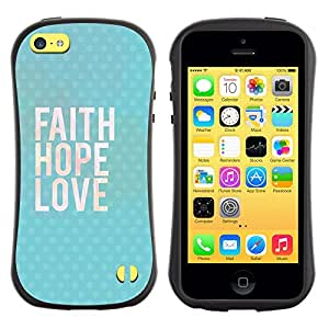 Suave TPU GEL Carcasa Funda Silicona Blando Estuche Caso de protección (para) Apple Iphone 5C / CECELL Phone case / / Happy Love God Blue Text /