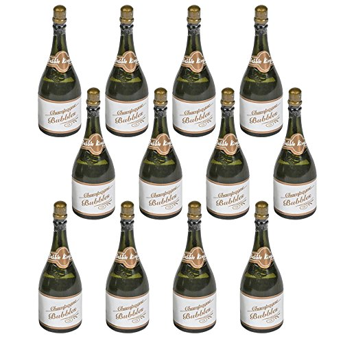 (Kicko Champagne Bottle Bubbles - 3 inches Mini Champagne Bubble with Blowers (Pack of 24) Solution Included - Great Gift Ideas and Party Favors for Kids)