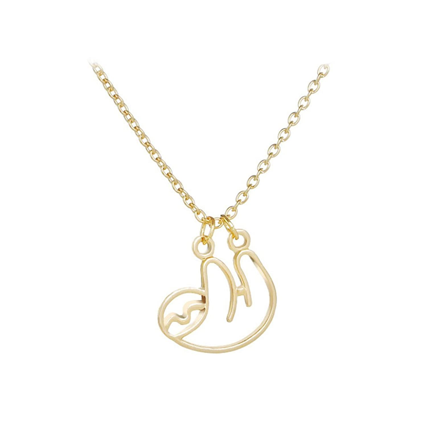 pendant sloth shiny abstract products thumbnail animal necklace dotoly in original shaped gold sleek dangling